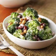 Prepare a quick brain-healthy gingered lemon broccoli salad with cranberries, mayo and lemon juice. Broccoli contains brain-healthy antioxidants. Broccoli Salad Bacon, Bacon Salad, Broccoli Recipes, Salad Recipes, Healthy Recipes, Diabetic Recipes, Broccoli Lemon, Healthy Foods, Potato Salad