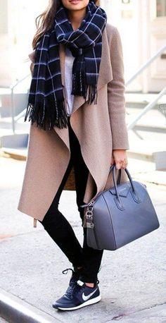 Plaid Scarf // Camel Coat // Leather Tote Bag // Black Skinny Jeans // Black Sneakers                                                                             Source