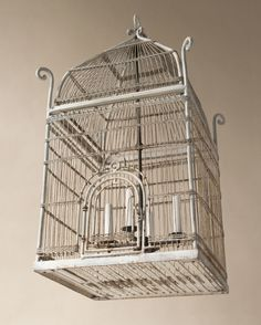 Orientaliste style white painted metal bird cage chandelier 4