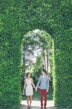 leafy archway for wedding portraits, photo by Studio A+Q http://ruffledblog.com/normandy-summer-wedding #wedding #portraits