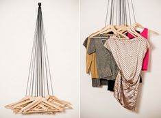 Coatracks Hooks —wardrobe by Alice Rosignoli is made from 20 wood hangers and black ropes