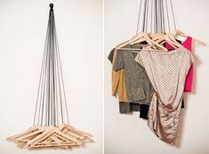 Coatracks Hooks —wardrobe by Alice Rosignoli is made from 20 wood hangers and black ropes