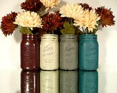 FALL and WINTER Wedding and Home Decor - Painted and Distressed Shabby Chic Mason Jars - Vase - Country Harvest
