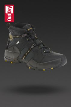 Men's Hells Peak Leather Omni-Heat OutDry in Black/Antique Moss  For cold weather hiking