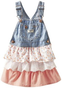 OshKosh B'gosh Baby Girls' Denim Woven Jumper (Baby) - Jetty Wash/Cream - 18 Months