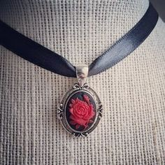 Roses are red. And this Gothic choker is on its way to a new home! I have more in stock though and sorry I forgot to rhyme. Gothic Fashion, Vintage Fashion, Gothic Chokers, Goth Girls, Beauty And The Beast, Red Roses, Pendant Necklace, Floral Flowers