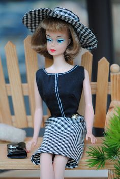 "1966 American Girl Barbie in ""Pretty as a Picture"" or is it Mitzi? Check out the blue eye shadow."
