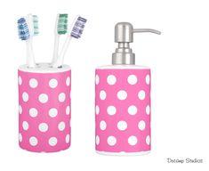 HOT PINK POLKA Dot Girls Toothbrush holder and Soap Dispenser Bathroom Decor