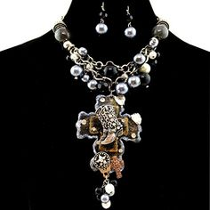 Western Peak Western Chunky Bubble Layered Necklace with Boots on Cross Pendant with Earrings Black * You can get additional details at the image link.