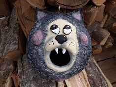 Cat Face Birdhouse Gourd Clay Sculpture Gourd by TheLaughingCabin
