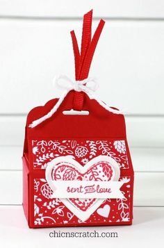 Stampin' Up! Valentine Box on Facebook Live  This is the box we made last night during my Facebook Live event. It's cute isn't it? I used the brand new Sealed with Love Stamp Set with the matching