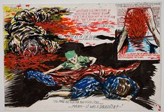 Raymond Pettibon, No Title (Don't run this), 2006.  Pen, ink, gouache, acrylic and collage on paper. 20 1/2 x 30 inches. Photography by Joshua White / JWPictures.com #JoshuaWhitePhotography #JWPictures #RaymondPettibon #Art #Drawing #Painting #DontRunThis