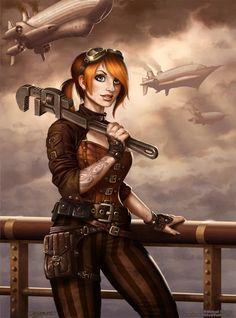 art,арт,красивые картинки,art девушка,Steampunk,стимпанк, паропанк,Michael Dashow,реактор-тян,реактор,реактор-тян в стиле паропанка,личное