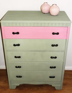 Vintage tall chest of drawers in Pink and Green