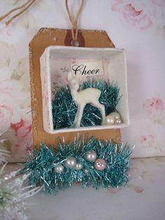 Shabby Christmas Ornament White Glitter Deer in Shadow box $8.50