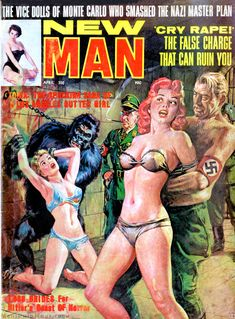 Is that Adolf in the gorilla suit? NEW MAN, April 1964. Cover painting by Norman Saunders. (Via the Men's Adventure Magazines Facebook Group -> https://www.facebook.com/groups/187984097012/)