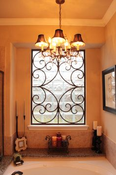 Decorative Faux Wrought Iron Window Insert Covering Design Enhances The Look Of Any Size