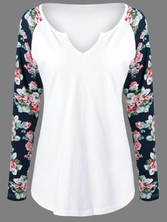 $8.03 for Low Cut Floral Pattern Sleeve T-Shirt in White | Sammydress.com