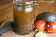 This Homemade Salad Dressing Recipe is now our favorite. You can make it five different ways --and we love ALL of them on salads, veggies, rice, and more! Simple to make--inexpensive-- and YUMMY! Best Salad Dressing, Salad Dressing Recipes, Salad Dressings, Paleo Recipes, Real Food Recipes, Great Recipes, Favorite Recipes, Honey Balsamic Vinaigrette, Balsamic Dressing