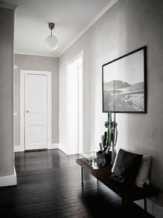 'Minimal Interior Design Inspiration' is a biweekly showcase of some of the most perfectly minimal interior design examples that we've found around the web - Painted Floorboards, Painted Floors, Black Floorboards, Black Hardwood Floors, Dark Timber Flooring, Dark Wood Floors Living Room, Dark Hardwood, Interior Design Examples, Interior Design Inspiration