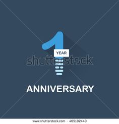 1 years anniversary, signs, symbols. blue, simple and flat design.