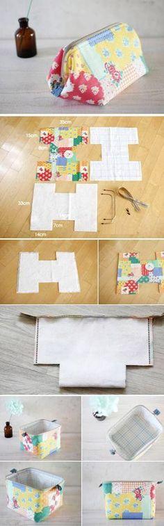 Cosmetic Bag colorful. DIY Tutorial Pattern. http://www.handmadiya.com/2015/08/cosmetic-bag-colorful.html