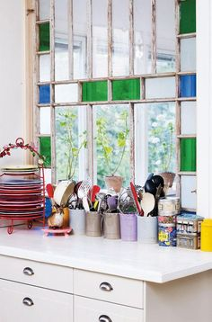 Stained glass kitchen window