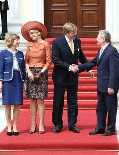 King Willem-Alexander and Queen Maxima meets with Joachim Gauck and Daniela Schadt  at Bellevue Palace  in Berlin