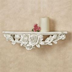 Graceful notes of a Rose Melody flit about your decor from this lovely floral wall shelf. This accent features an antique white finish and a rose swag. Decoration Shabby, Shabby Chic Wall Decor, Shabby Chic Interiors, Gold Wall Decor, Wall Shelf Decor, Wall Shelves, Antique Shelves, Vintage Shelving, Altar Design