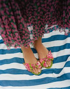 064a707f7697d9 SALVATORE FERRAGAMO Flower-Heel Silk Slide Sandals Cher Horowitz