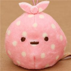 kawaii pale pink Sumikkogurashi dots cloth plush charm