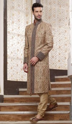 G3 fashions Beige Embroidered Brocade Silk Sherwani.  Product Code : G3-MSH10000134 Price : INR RS 65241