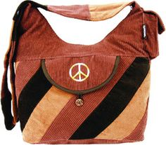 Corduroy Saddle Bag with Peace Sign Embroidery