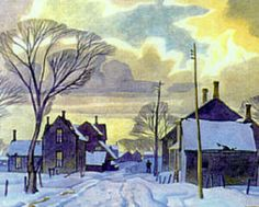 Winter in the Village. Alfred Joseph Casson - a member of the Canadian Group of Seven Group Of Seven Art, Group Of Seven Paintings, Paintings I Love, Emily Carr, Canadian Painters, Canadian Artists, Winter Painting, Winter Art, Tom Thomson Paintings