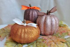 spray paint small pumpkins for table decor ....easy, simple, shiny and cheap!  whimsysworkshop, Etsy