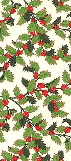 Gilded holly berry Christmas crafting paper made in Italy