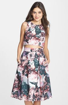 Free shipping and returns on Clove Floral Print Two-Piece Dress (Nordstrom Exclusive) at Nordstrom.com. Soft floral blooms pattern a pretty two-piece set that features a chic sleeveless crop top and a full, pleated skirt.
