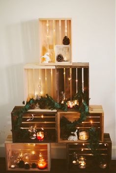 I adore this wooden crate Christmas tree idea—it& the perfect way to transform necessary storage solutions into beautiful holiday decor! Christmas Village Display, Diy Christmas Tree, 1st Christmas, Xmas Tree, All Things Christmas, Christmas Decorations, Holiday Decor, Wooden Crates Christmas, Eco Deco