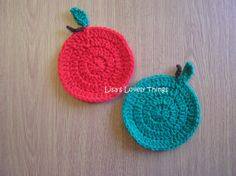 Handmade Crochet Apple Coasters  Set of 4 by LisasLovelyThings