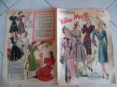 APRIL 1947 French FASHION / MODE Magazine VOTRE MODE # 10.... spring clothing | eBay