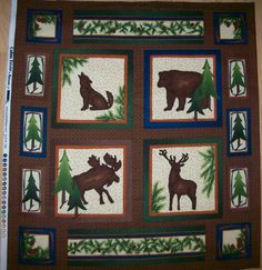 Real Tree Fabric Panel With Bear Turkey Deer And Fish