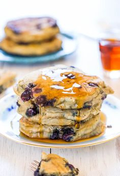 Start your day with a stack of soft and fluffy blueberry pancakes.