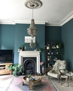 Home Decored Blue Living Room Inspiration Ideas Dark Living Rooms, Living Room Green, Farm House Living Room, Moody Living Room, Blue Living Room, Minimalist Living Room, New Living Room, Room Remodeling, Victorian Living Room