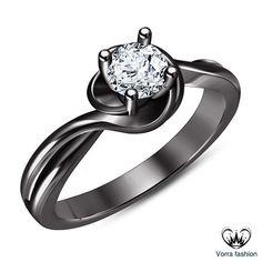 Promise Engagement Ring In Black Rhodium Finish 925 Silver Round Cut Sim Diamond: Promise Engagement Ring In Black… #Jewellery #UKJewellery