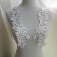 White Venice Applique Bridal Lace Applique Wedding by FabricTrims