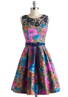 Reception to Follow Dress by Bettie Page - Mid-length, Multi, Orange, Green, Blue, Purple, Floral, Lace, Pleats, Belted, Fit & Flare, Sleeveless, Vintage Inspired, Luxe, Wedding, Prom