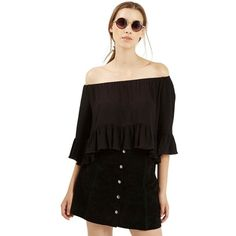 Petite Topshop Crinkly Off the Shoulder Top ($52) ❤ liked on Polyvore featuring tops, blouses, black, petite, rayon blouse, black ruffle blouse, ruffle crop top, black crop top and petite blouses