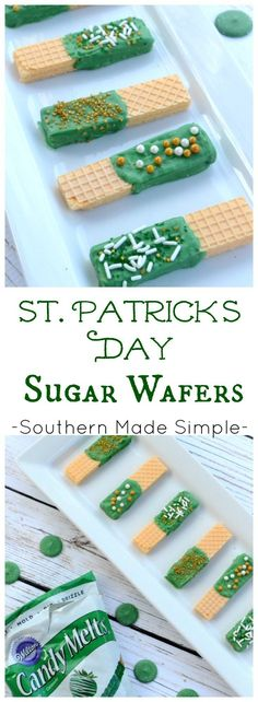 St. Patrick's Day Sugar Wafers - Looking for a super easy and inexpensive treat to make to celebrate St. Patrick's Day? Look no further, friends! You can never go wrong with chocolate, sprinkles and sugar wafers!