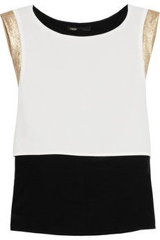 Metallic-trimmed silk and crepe top