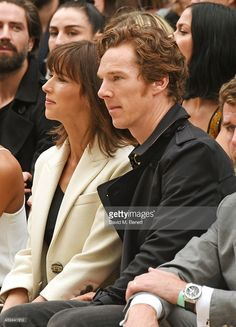 Sophie Hunter (L) and Benedict Cumberbatch attend the Burberry Womenswear Spring/Summer 2016 show during London Fashion Week at Kensington Gardens on September 21, 2015 in London, England.